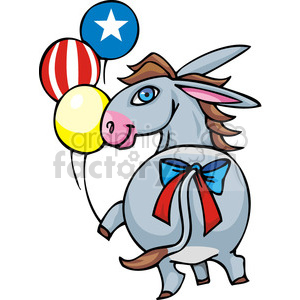 Democrat donkey holding balloons clipart. Commercial use image # 385668