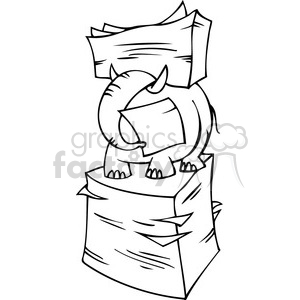 black and white image of an elephant hiding in a stack of papers clipart. Royalty-free image # 385671