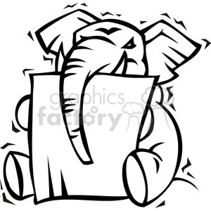 black and white Republican elephant mascot clipart. Royalty-free image # 385674