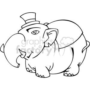 black and white image of a fat Republican elephant clipart. Commercial use image # 385678