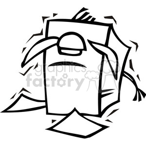 black and white image of a donkey stuck in a stack of papers clipart. Royalty-free image # 385680