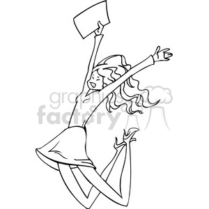 black and white image of an excited women clipart. Commercial use image # 385688