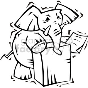 black and white Republican elephant at the podium