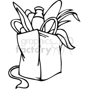 black and white clip art of a Democrat bag of groceries clipart. Commercial use image # 385696