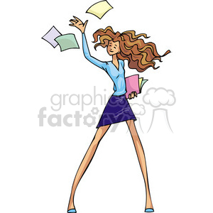Democratic women throwing papers into the air clipart. Commercial use image # 385701