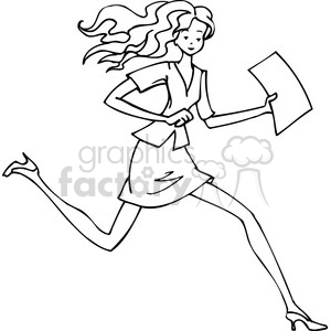 black and white image of a women running clipart. Commercial use image # 385704