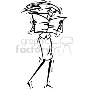 black and white image of a women reading a newspaper clipart. Commercial use image # 385714