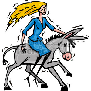 Democratic women riding a donkey clipart. Commercial use image # 385715
