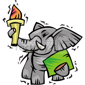Republican cartoon of elephant holding a torch clipart. Royalty-free image # 385720
