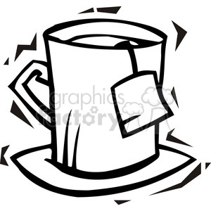 black and white image of a tea cup clipart. Royalty-free image # 385721