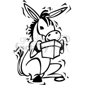 black and white Democrat cartoon donkey clipart. Commercial use image # 385725