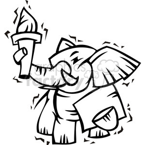 black and white Republican cartoon elephant holding a torch clipart. Commercial use image # 385728