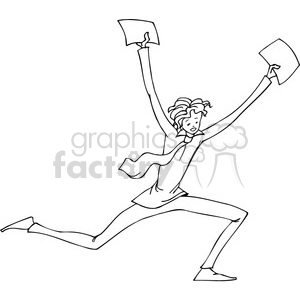 black and white cartoon of a man running with documents in his hands