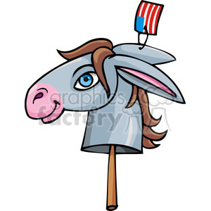 Democratic donkey on a stick clipart. Commercial use image # 385740