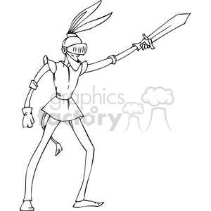 black and white clip art of a Democrat in a knight suit clipart. Royalty-free image # 385742