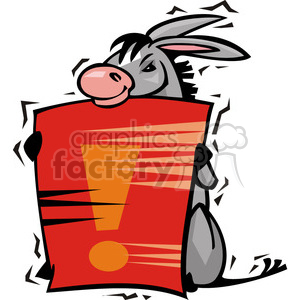 Democrat donkey holding a sign clipart. Royalty-free image # 385748