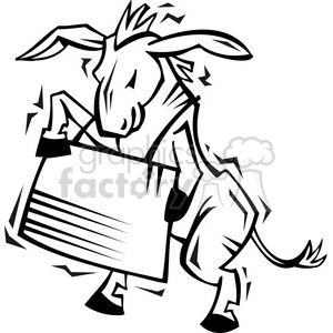 black and white Democrat image of a donkey holding a sign clipart. Commercial use image # 385750