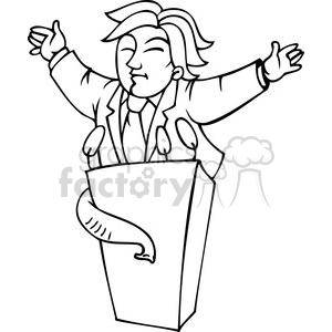 black and white image of a Republican speaking at the podium clipart. Royalty-free image # 385751