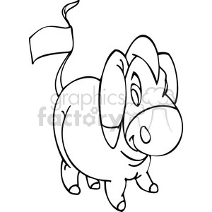black and white image of a Democrat donkey with a tag on its tail clipart. Royalty-free image # 385770