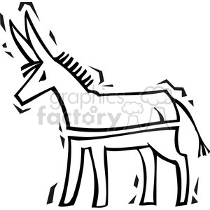 black and white image of a Democratic donkey clipart. Commercial use image # 385771