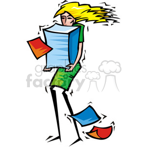 women holding a huge stack of papers clipart. Commercial use image # 385774