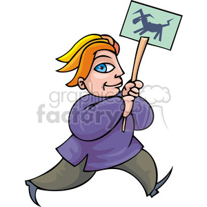 Democrat man holding a political sign clipart. Royalty-free image # 385775