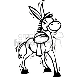 black and white Democrat cartoon donkey clipart. Royalty-free image # 385776