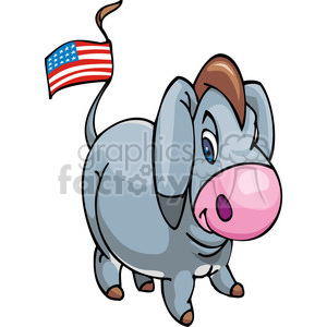 Democrat donkey with an American flag on its tail clipart. Commercial use image # 385778