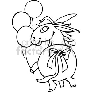 black and white Democrat donkey clipart. Royalty-free image # 385782