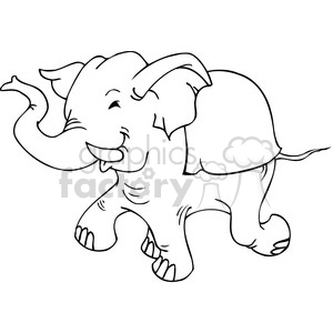 black and white Republican elephant cartoon clipart. Commercial use image # 385784