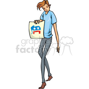 Republican man holding a sign clipart. Royalty-free image # 385792