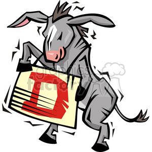 Democratic donkey holding a sign clipart. Commercial use image # 385797