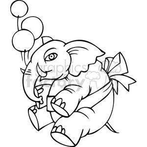 black and white Republican mascot floating with balloons clipart. Commercial use image # 385798