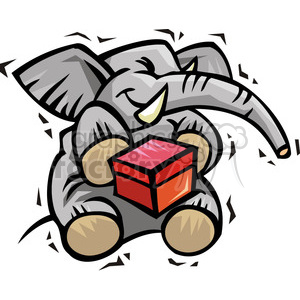 Republican elephant cartoon holding a ballot box clipart. Royalty-free image # 385806