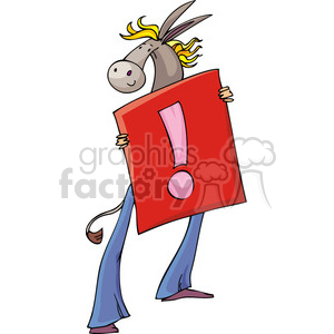 Democrat cartoon of a donkey holding a sign clipart. Commercial use image # 385807