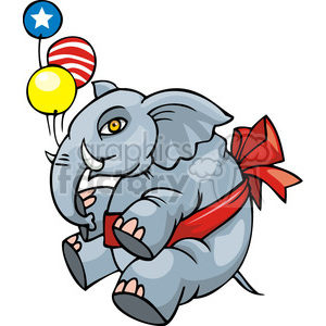 Republican mascot floating with balloons clipart. Royalty-free image # 385808