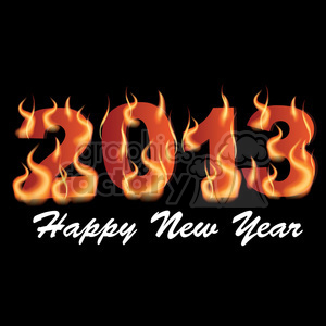 2013 Flaming Happy New Year clipart. Royalty-free image # 385991