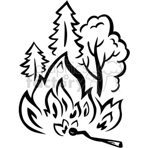 forest wild fire burning aces clipart. Royalty-free image # 386123