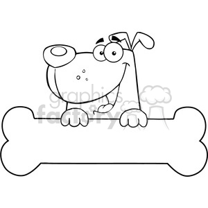cartoon funny illustrations comic comical dog puppy pet black+white bone