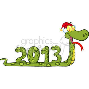 5119-Funny-Snake-Cartoon-Character-Showing-Numbers-2013-With-Santa-Hat-Royalty-Free-RF-Clipart-Image clipart. Royalty-free image # 386232