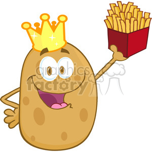 5182-Potato-With-Crown-Holding-Up-A-French-Fries-Royalty-Free-RF-Clipart-Image clipart. Royalty-free image # 386242