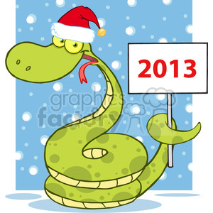 5151-Happy-Snake-With-Santa-Hat-Holding-Up-A-Blank-Sign-Royalty-Free-RF-Clipart-Image clipart. Royalty-free image # 386252