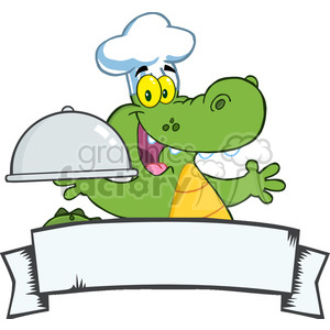 Crocodile Chef Holding A Platter Over A Blank Banner clipart. Commercial use image # 386498