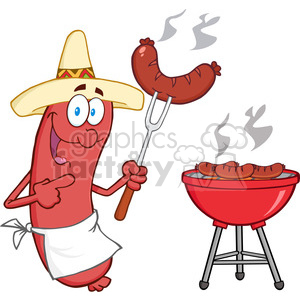 Happy-Sausage-With-Mexican-Hat-Cook-At-Barbecue clipart. Royalty-free image # 386518