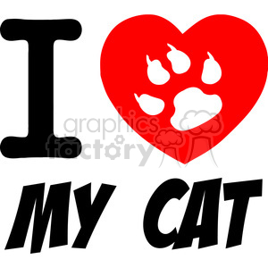 I Love My Cat Text With Red Heart And Paw Print clipart. Royalty-free image # 386538