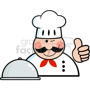 Royalty Free RF Clipart Winked Chef Logo With Platter Showing Thumbs Up clipart. Commercial use image # 386558