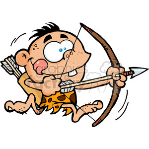 Cave Boy Running With Bow And Arrow clipart. Commercial use image # 386598