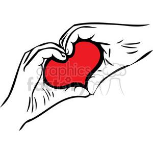 love Valentines hearts cartoon vector heart hands
