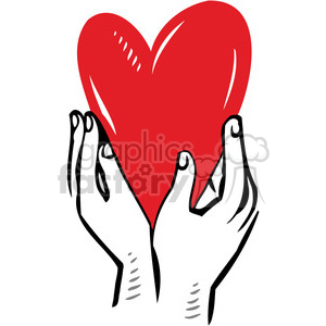 hands holding red heart clipart. Commercial use image # 386637
