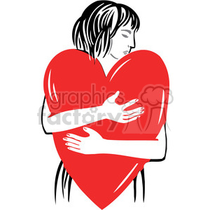 women hugging a red heart